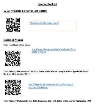 WWI Battles Source Analysis Booklet Project(Website QR Codes links+rubric inc.)
