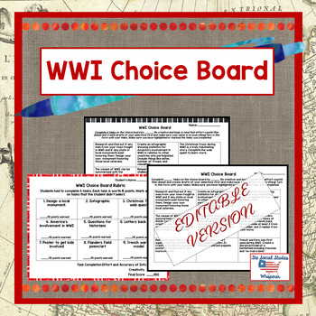 WWI Choice Board