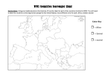 Countries scavenger hunt textbook or webquest research chart map wwi countries scavenger hunt textbook or webquest research chart map publicscrutiny Choice Image