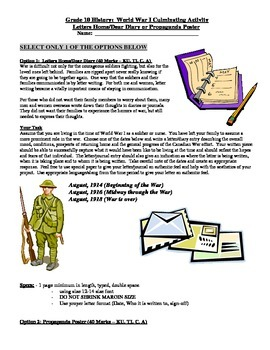 WWI Culminating Activity - Trench Letter or Propaganda Poster