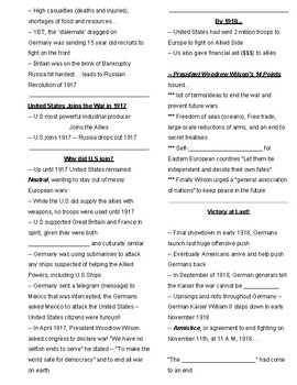 WWI Day 2 of 3 Free Guided Notes to go with powerpoint