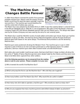 WWI Four Day Lesson Pack #2