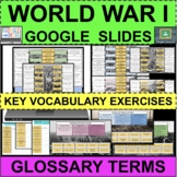 WWI Glossary & Vocabulary Terms Exercises GOOGLE SLIDES Distance Learning