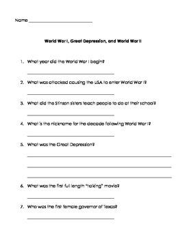 WWI, Great Depression, and WW2 Test