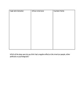 WWI Home-front Graphic Organizer