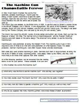 WWI Homework Pack (Machine Guns and Casualties of WWI)