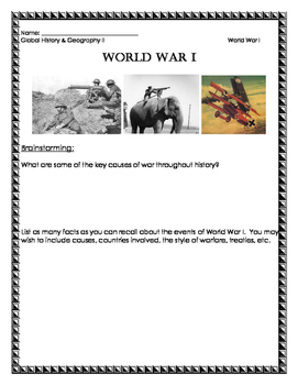 WWI Inquiry Based Visuals Packet