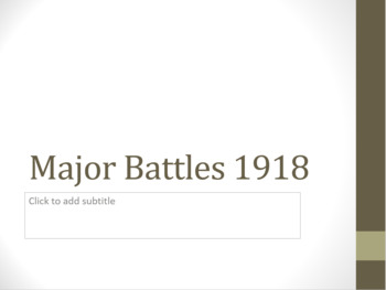 WWI Major Battles - 1918