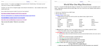 WWI Mapping Activity with Questions