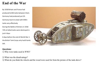 WWI NEW WEAPONS and TECHNOLOGY SCAVENGER HUNT