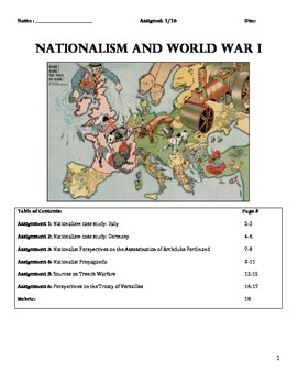 WWI - Nationalism and WWI Assignment Packet