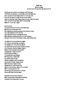 WWI Original Rap to tune of Holy Grail by Jay Z and Justin Timberlake