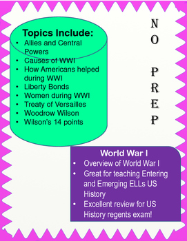 WWI Packet for US History
