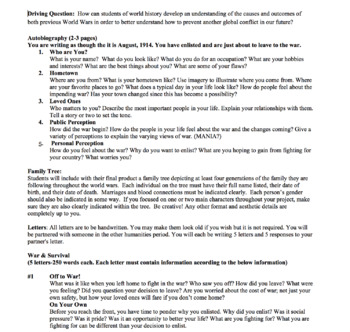 WWI PBL Project with Rubric