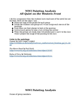 WWI Painting Analysis Group Discussion to go with All Quiet on the Western Front