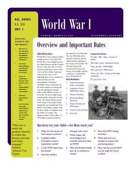 WWI - Parent Newsletter