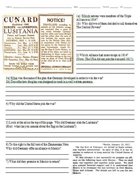 WWI Power Levels and Lusitania & Zimmerman Note