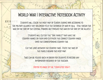 WWI Powers Interactive Notebook Activity