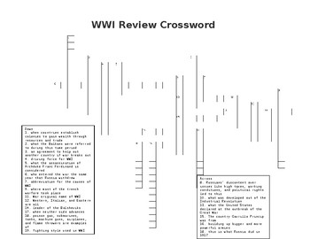 WWI Review Crossword