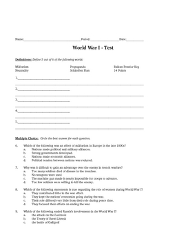 WWI Review & Test