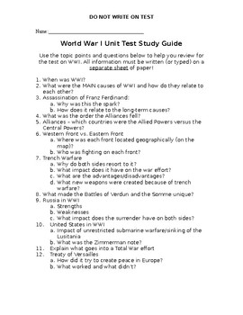 WWI Study Guide and Unit Test