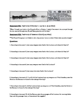 WWI: World War One- Sinking of the Lusitania docs, q's and essay