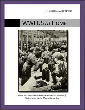 WWI: The US at Home Differentiated Instruction Lesson Plan