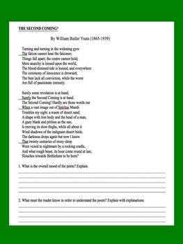 WWI - Treaty of Versailles Primary Source Worksheet & Poetry Analysis