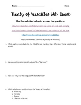WWI - Treaty of Versailles Web Quest