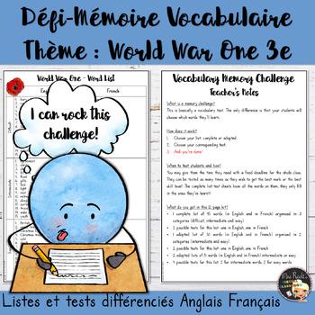 Vocabulary Word List World War One