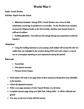 Trench Warfare in World War I Facts & Information Worksheet