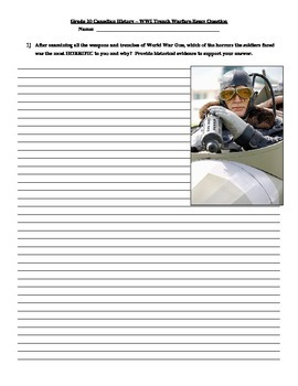 WWI Trench Warfare Long Answer/Short Essay Comprehension Questions