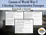 WWI (WW1) Reading Comprehension Packet (homework, review)