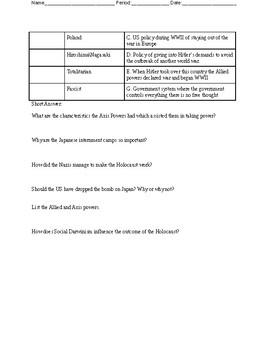 WWI\WWII Quiz