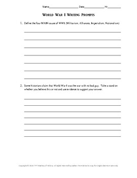 WWI Writing Prompts