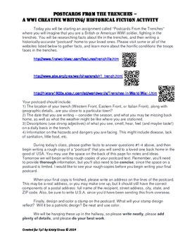 """WWI Writing/History Activity ~ """"Postcards From the Trenches"""" w/ QR codes"""