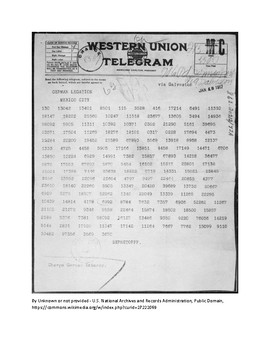 WWI Zimmermann Telegram decoding activity for Social Studies