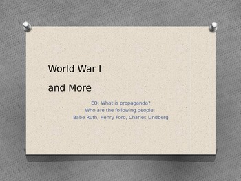 WWI and Propoganda PPT