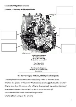 WWI political cartoons - scaffolded task