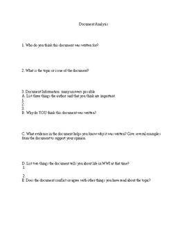 WWI primary source analysis worksheet