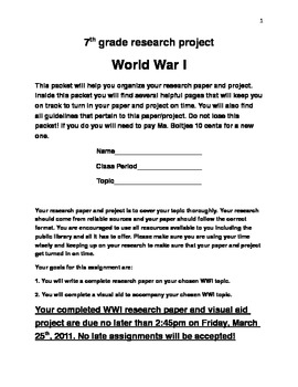 WWI research project