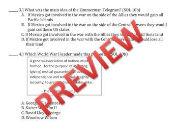 WWI review quiz