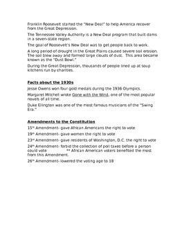 World War I, Jazz Age, Great Depression Unit Study Guide