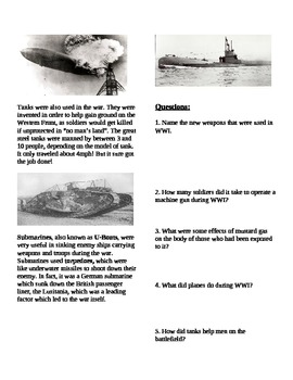 WWI: World War One weapons reading and questions