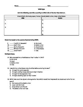 WWII Beginning Quiz