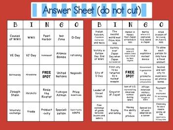 WWII Bingo