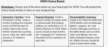 WWII Choice Board & Checklists