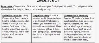 WWII Choice Board & Checklists