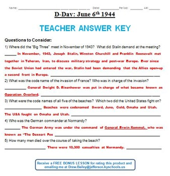 WWII D-Day Summary Sheet