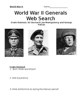WWII Generals Internet Research: Rommel, Montgomery and Patton.  With Key